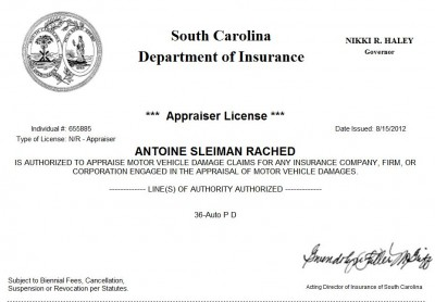 Licensed South Carolina Auto Appraiser
