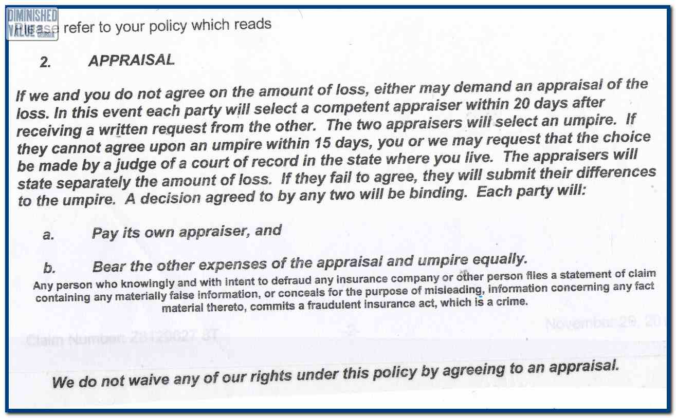 Farmers Insurance Diminished Value Example Letter