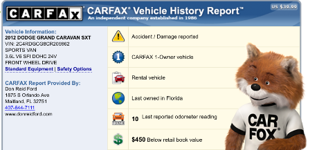 Carfax Report Before TrueFrame