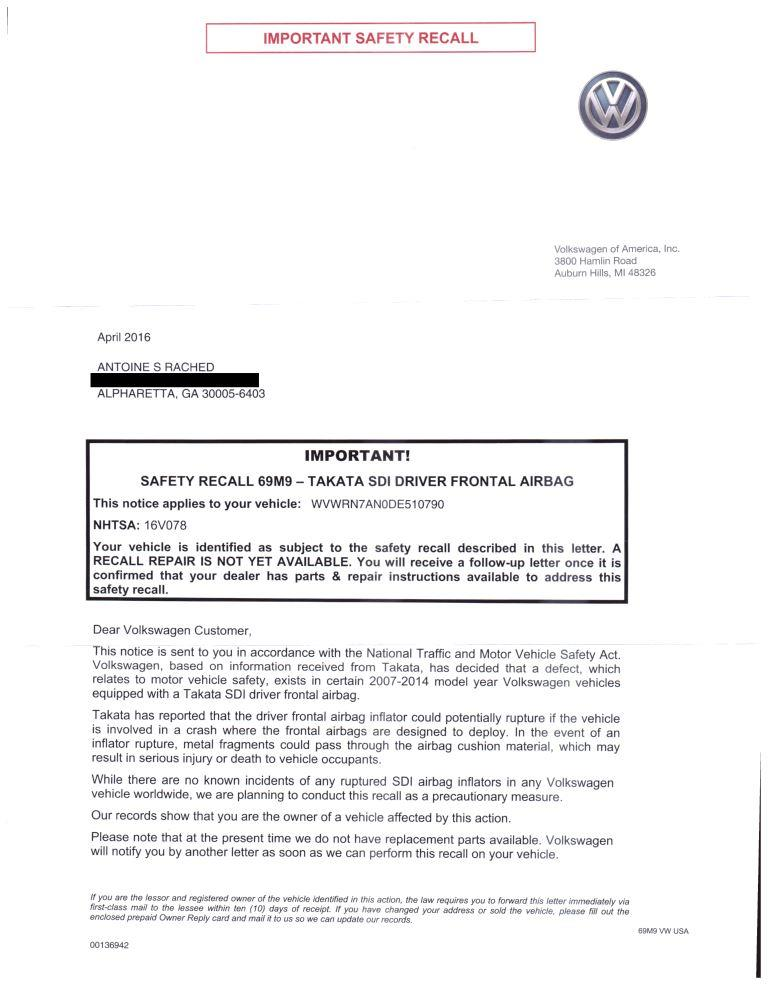 Safety Recall Letter Sent By Vw  Diminished Value Car Appraisal