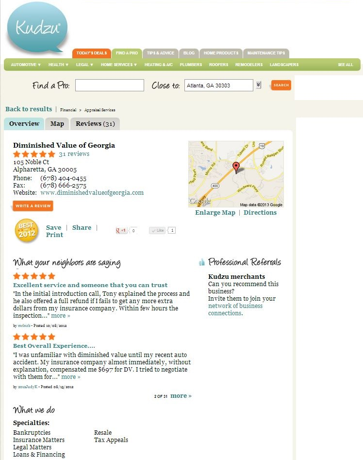 diminished value of georgia reviews kudzu reviews diminished value car appraisal 10674