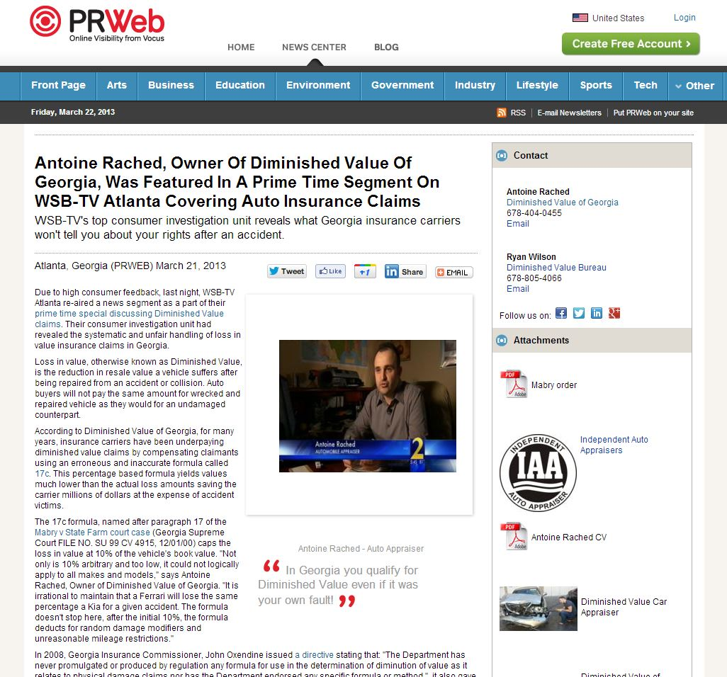 Antoine Rached, Owner Of Diminished Value Of Georgia, Was Featured In A Prime Time Segment On WSB-TV Atlanta Covering Auto Insurance Claims