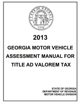 GEORGIA MOTOR VEHICLE ASSESSMENT MANUAL FOR TITLE AD VALOREM TAX