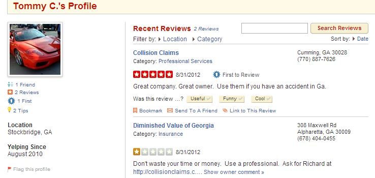 Collision Claims Collusion Yelp Fraud Listing Competitor