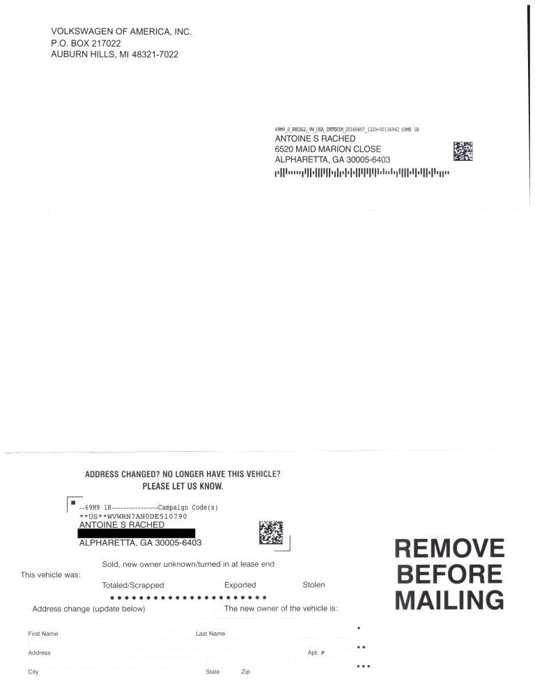Safety recall letter sent by vw 3 thecheapjerseys Gallery
