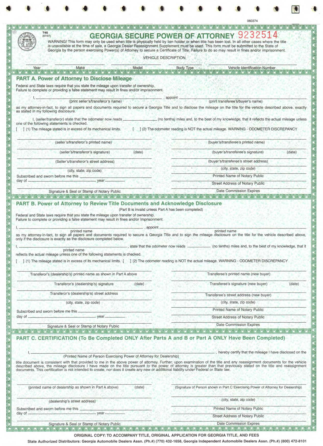 Georgia Secure Power of Attorney Form T-8s | Diminished ... on notary statement letter sample, notary to notarize letter, notary letter format, samples of notarized proof of income letters, notary examples of letters, notary document format, notary notarized letter,