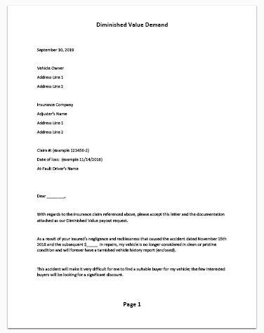 Letter To Insurance Company For Claim Settlement from diminishedvalueofgeorgia.com