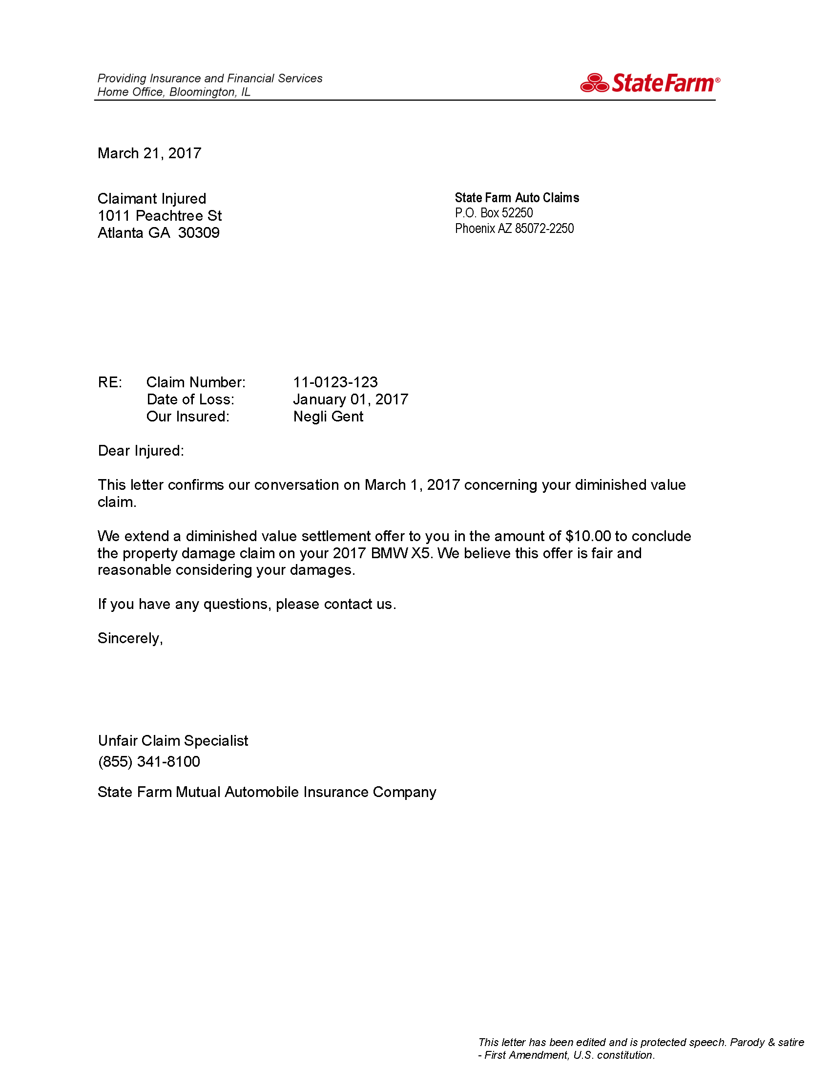 State Farm Diminished Value Letter
