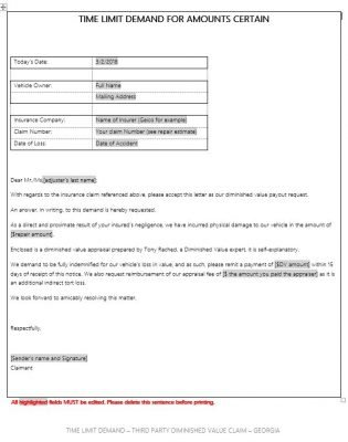 diminished value claim letter diminished value demand letter diminished value car 21372