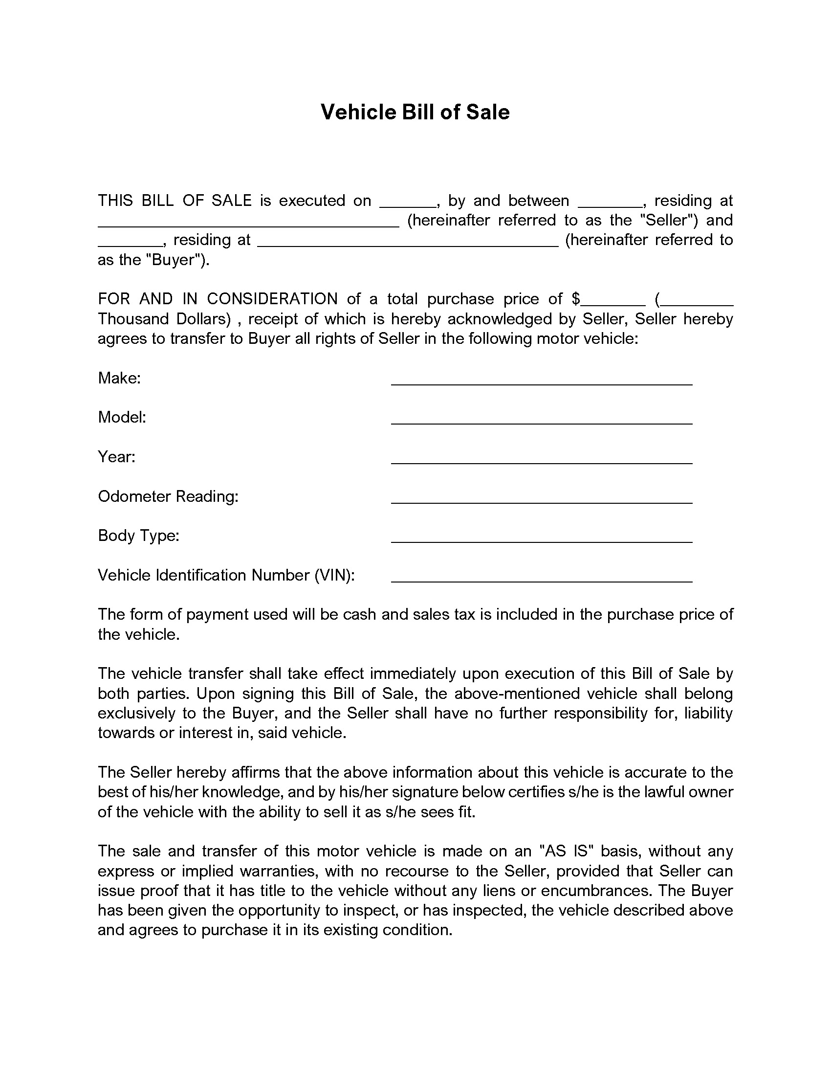 Vehicle Bill of Sale by Owner Sample Document  Diminished Value With Regard To Car Bill Of Sale Word Template
